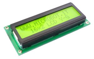 16x2 Character LCD Yellow-Green LED Backlight
