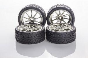Rubber Wheel 65x27mm (pair) - Chromed Silver - 10 Spoke